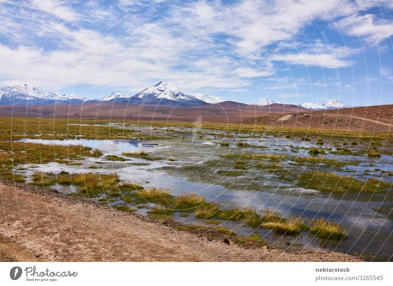 Atacama Landscape Scenery With the Andes Mountains Nature Sky Clouds Horizon Peak Adventure Atacama desert Geology terrain water panorama South America