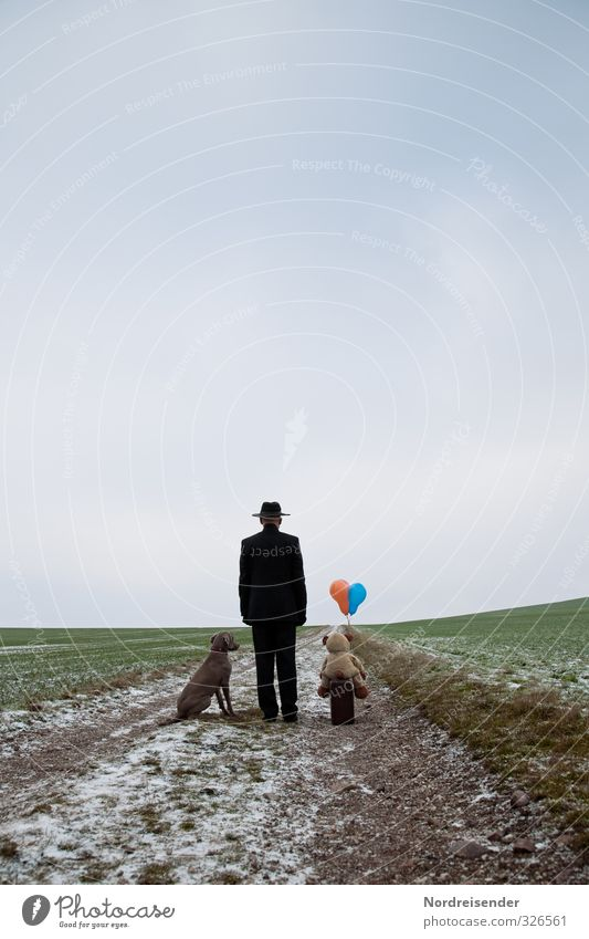 Let's.... let's go. Lifestyle Business Career Human being Masculine Man Adults Street Lanes & trails Suit Hat Animal Dog Teddy bear Balloon Wait Optimism