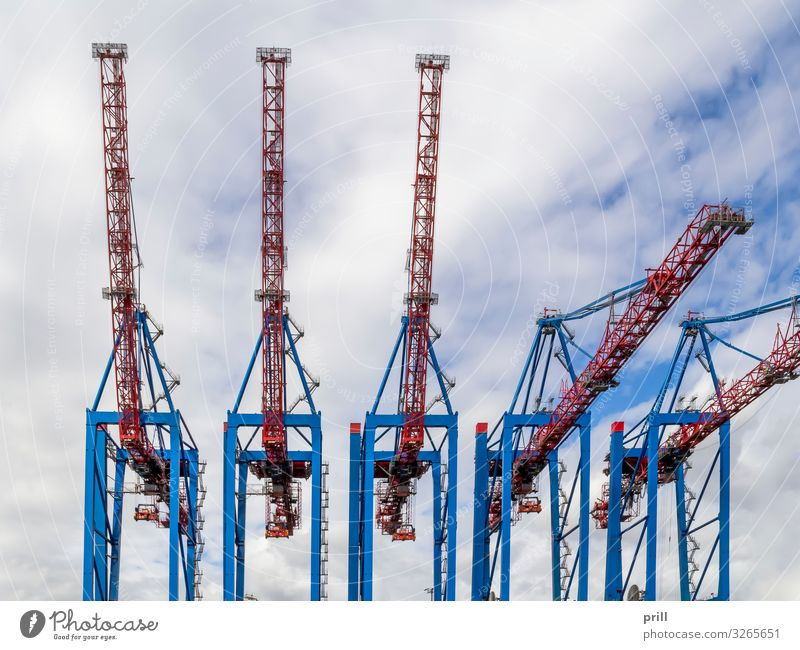 quay cranes Logistics Port City Harbour Transport Tall caicrane loading crane Crane Container terminal Port of Hamburg seaport Germany industrial harbour