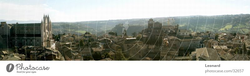 Orvieto Panorama (View) Domed roof Building Sun Tree Town Italy Europe Religion and faith Sky Large Panorama (Format)
