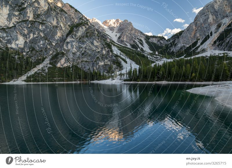 Pragser Wildsee in the Dolomites at present unreachable so sad Central perspective Deep depth of field Reflection Shadow Light Day Deserted Exterior shot