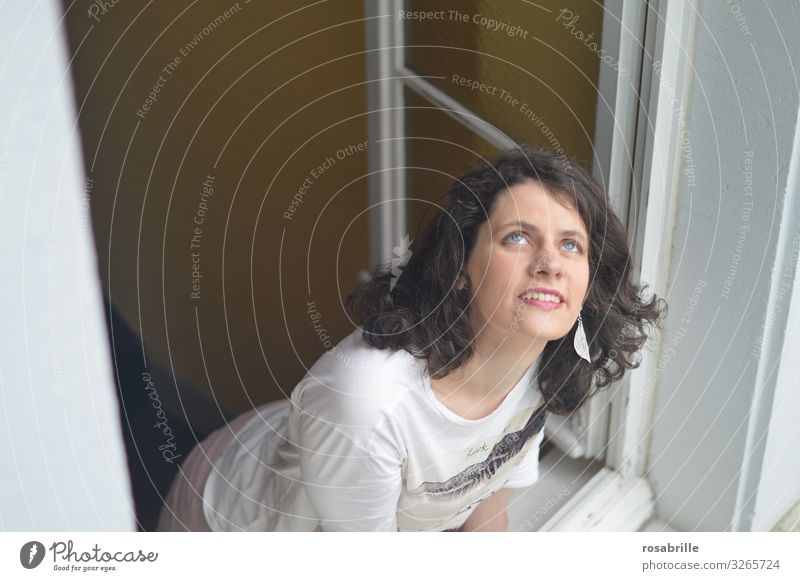 View out of the window | Farsighted Joy Human being Young woman Youth (Young adults) Woman Adults 1 18 - 30 years Sky Window Brunette Curl Observe Think