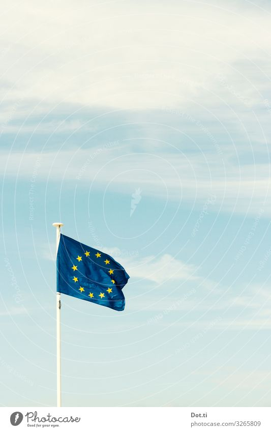 Europe Sign Flag Blue Agreed Power Attachment European flag Star (Symbol) Blow Sky Clouds Colour photo Exterior shot Deserted Copy Space right Copy Space top
