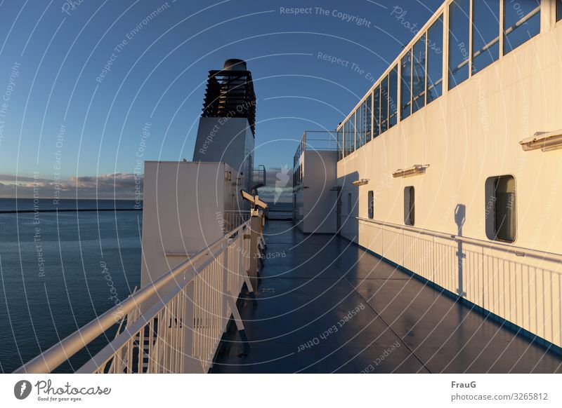 on the ferry vacation Vacation & Travel Tourism Travel photography Ocean Baltic Sea Ferry Crossing Navigation Watercraft On board Deck Chimney Railing Horizon