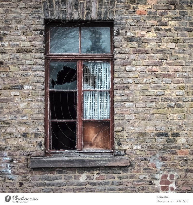 Notch out the wall. Small Town House (Residential Structure) Ruin Window Stone Sign Decline Past Transience Wall (barrier) Brick Broken Colour photo
