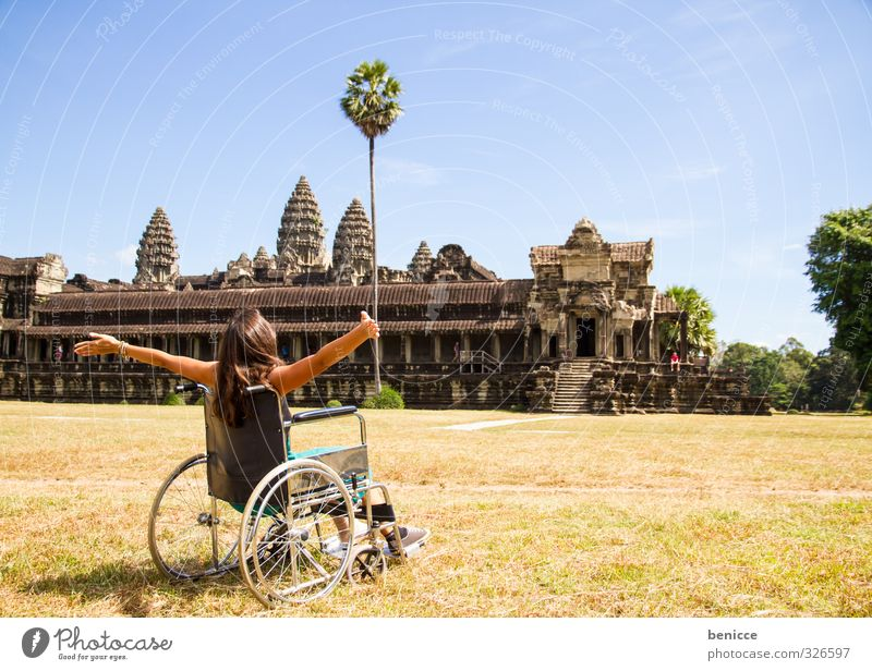wheelchair trip Handicapped Wheelchair Vacation & Travel Travel photography Free Joy happy Angkor Wat Asia Cambodia Temple Monument Monumental Sightseeing Woman