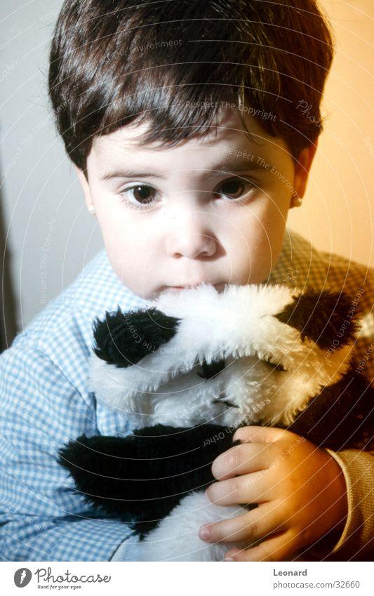 Human being Child Girl Eyes Colour Toys Bear Panda