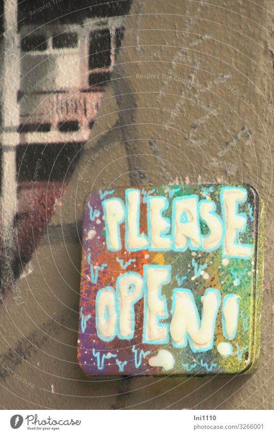 Please open! | UT Hamburg Port City House (Residential Structure) Wall (barrier) Wall (building) Facade Door Name plate Brown Gray Green Violet Pink Turquoise