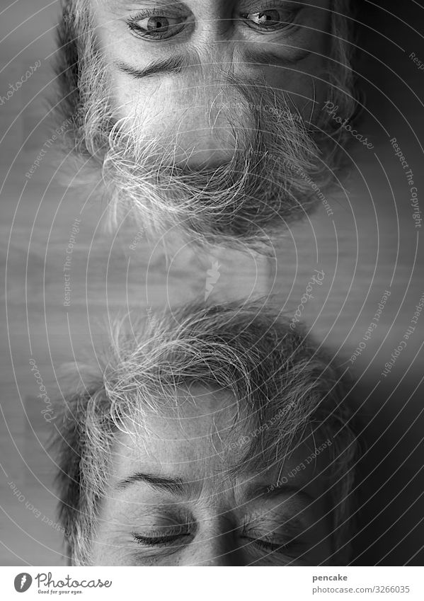 while you slept Human being Feminine Woman Adults Female senior Couple Face Looking Sleep Doppelganger Self portrait Watchfulness Mysterious Black & white photo