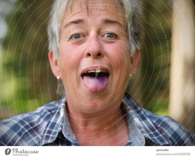 yuck | woman sticks out purple-blue tongue Human being Woman Portrait photograph Face Blue Laughter Joy blueberries Forest Eating Mouth Tongue Violet Selfie