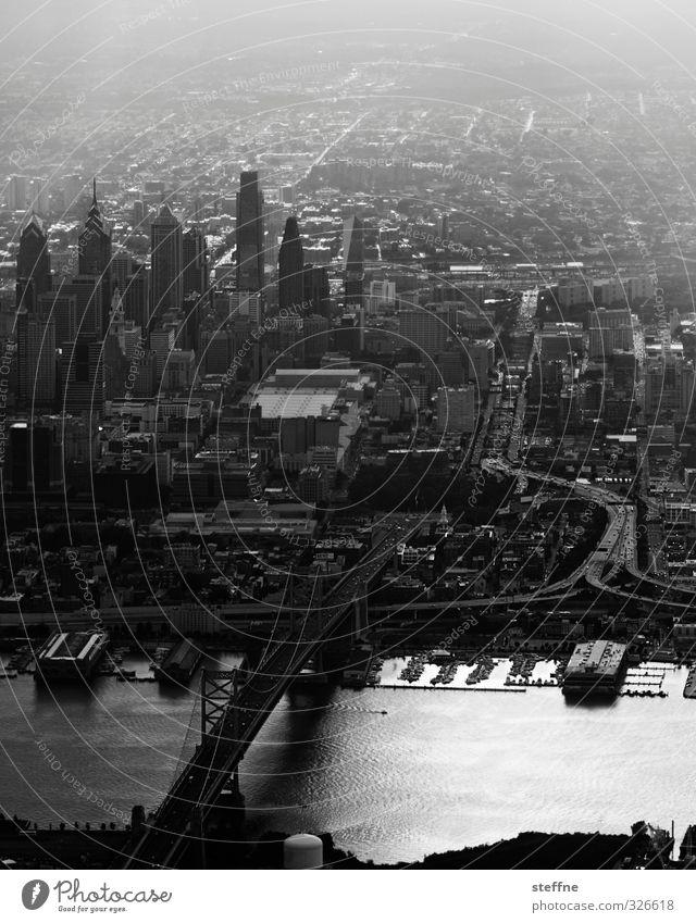 The Streets of Philadelphia River Delaware USA Town Downtown Skyline Populated High-rise Bridge Esthetic Black & white photo Exterior shot Bird's-eye view