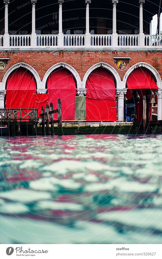 Rialto Mercato Water River Canal Grande Venice Italy House (Residential Structure) Esthetic Red Blue Colour photo Exterior shot