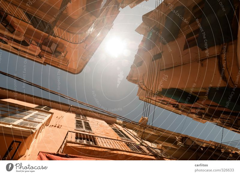 sunny prospects Cloudless sky Sun Sunlight Summer Beautiful weather Warmth Capital city Downtown Old town House (Residential Structure) Manmade structures