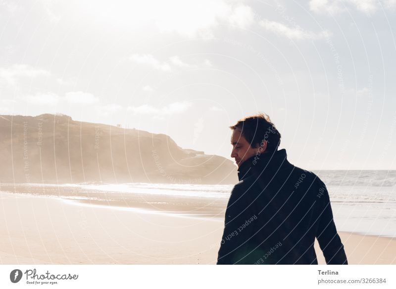 sunny day Masculine Man Adults 1 Human being 30 - 45 years Nature Landscape Climate Coast Bay Movement Walking Looking Hiking Cool (slang) Simple Positive Moody