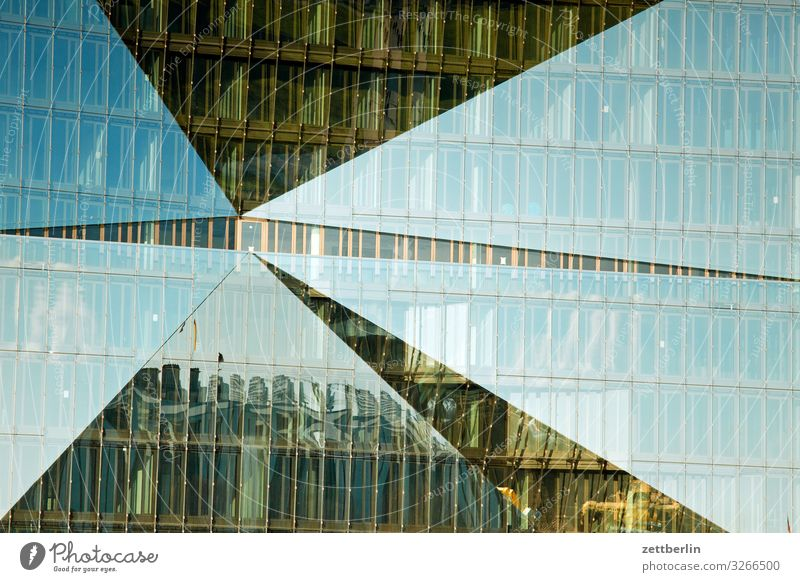House (Residential Structure) Architecture Berlin Facade Modern Glass New Capital city Hotel Mirror image Seat of government New building Glas facade Spree