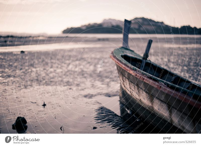 low tide Sand Water Sky Coast Beach Fishing boat Sailboat Rowboat Exotic Maritime Wet Adventure Loneliness Horizon Idyll Vacation & Travel Low tide Tide