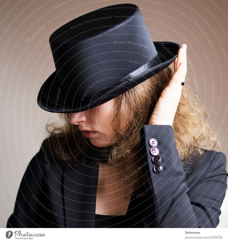 Well protected Human being Feminine Woman Adults Skin Head Hair and hairstyles Nose Mouth Lips Hand Fingers 1 Hat Blonde Curl Elegant Top hat Buttons