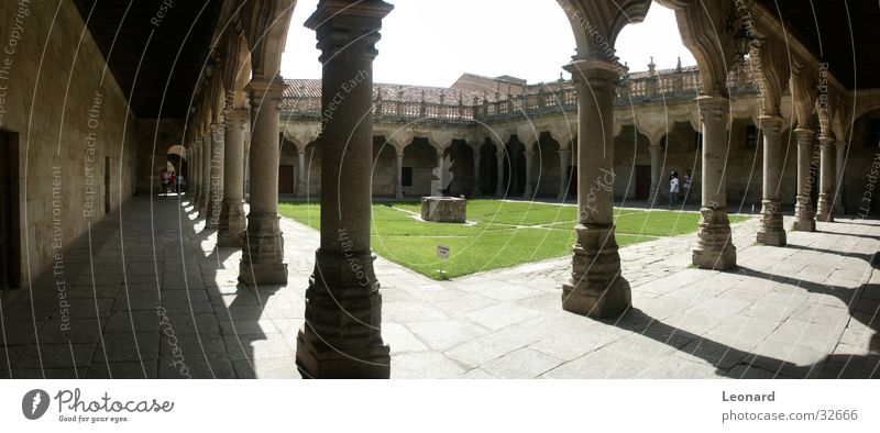 monasteries Colour tone Well Human being Spain Architecture Monastery Column grass soil Sun