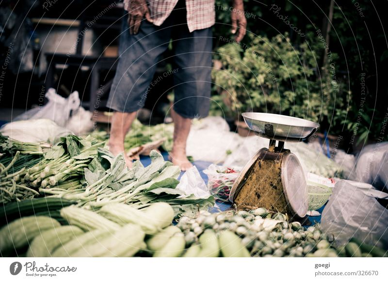 Human being Man Green Adults Healthy Eating Food Masculine Nutrition Vegetable Organic produce Barefoot Markets Vegetarian diet Scale Asian Food Market stall