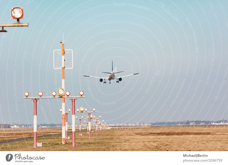 aircraft approaching the airport Vacation & Travel Aviation Airplane Airport Runway Airplane landing Airplane takeoff Flying International Transport Environment