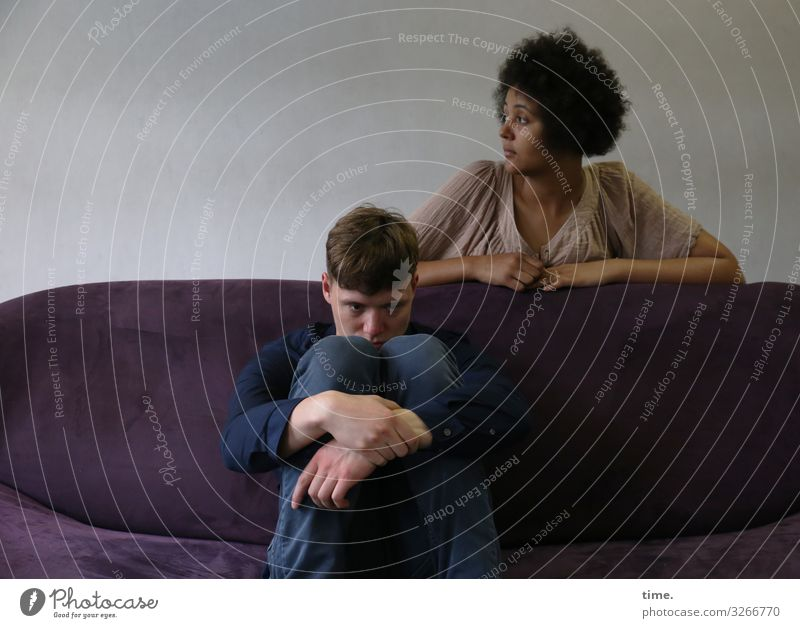 Janis & Ansiré Sofa Room Masculine Feminine Woman Adults Man 2 Human being Stage play Actor Shirt Pants Short-haired Long-haired Curl Afro Observe Think Sit