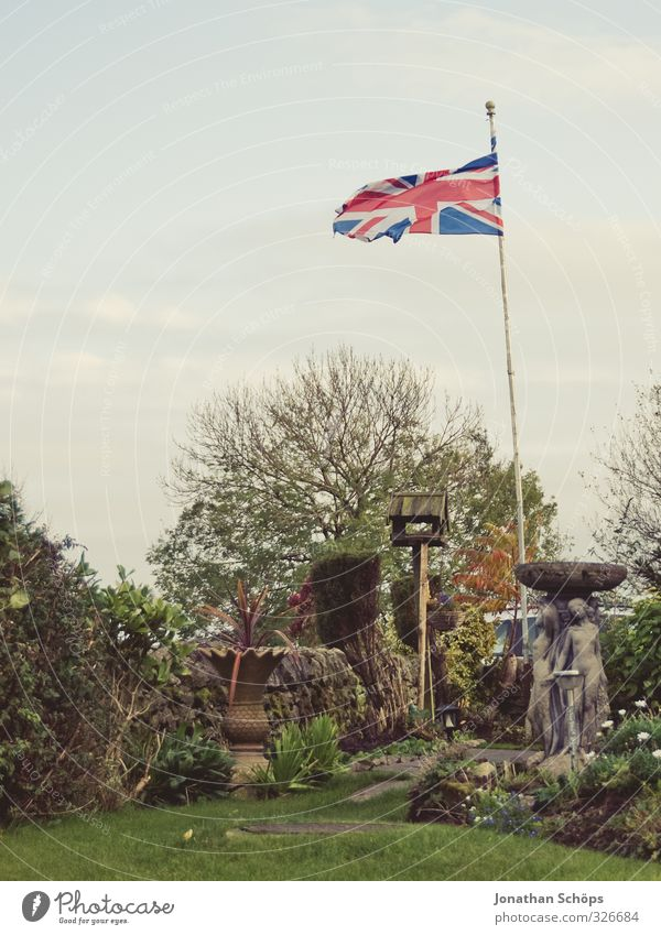 born in the UK II Environment Nature Landscape Autumn Plant Grass Bushes Foliage plant Green Flag Flagpole Blow Wind Great Britain Patriotism Garden Sky