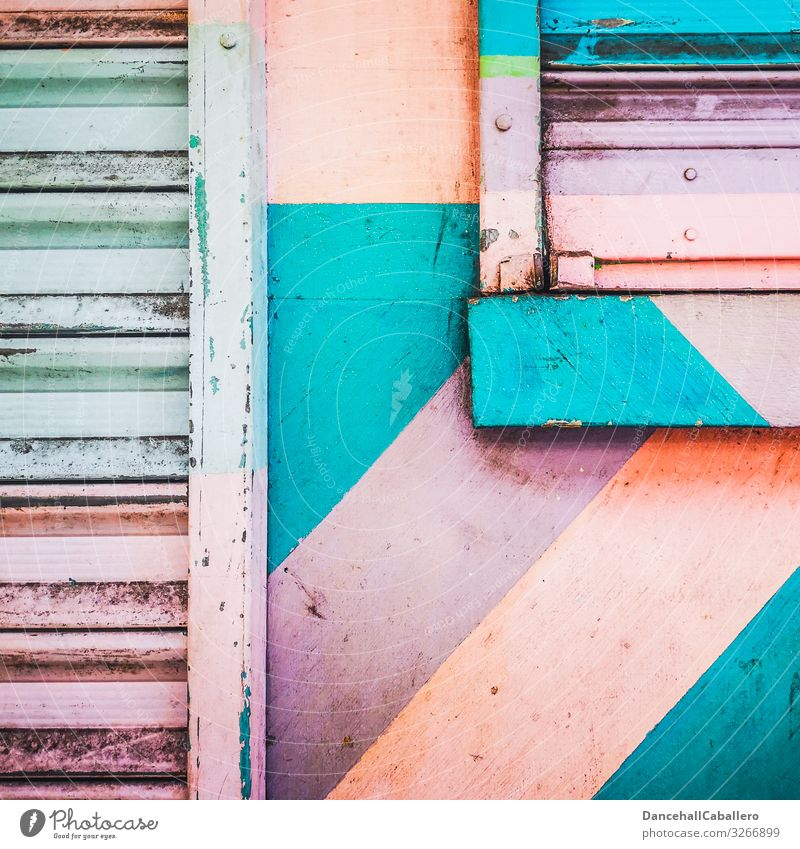 colourful design on wall with roller door and window Town Downtown Pedestrian precinct House (Residential Structure) Industrial plant Wall (barrier)