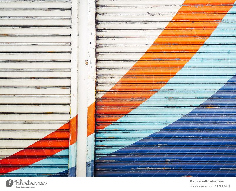 colourful geometric design on roller door Pattern Abstract Close-up Line Structures and shapes Design Geometry Roller shutter Facade Industrial plant