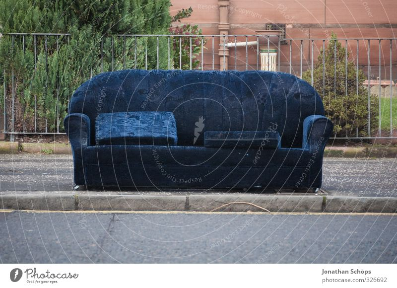 seating Glasgow Exceptional Funny Sofa Street Exterior shot Empty Bulk rubbish Sit Seating Lounge suite Blue Footpath Sidewalk Fence Fill Relaxation Restful