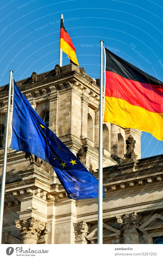 Reichstag with three flags Architecture Berlin City Germany German Flag Capital city Downtown Parliament Government Seat of government Government Palace Spree