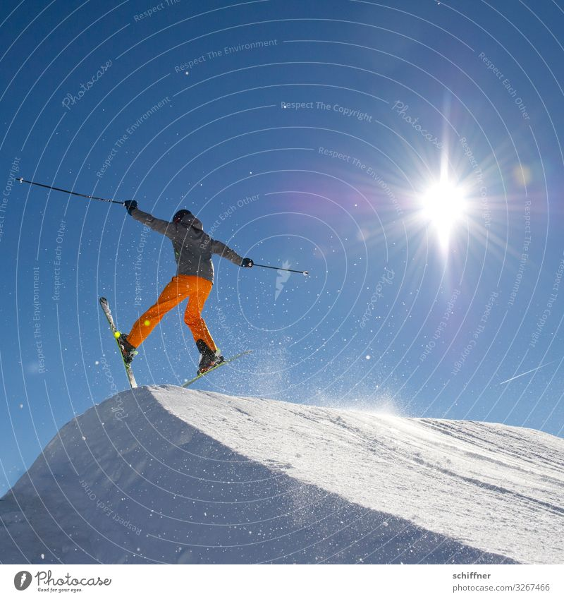 Human being Vacation & Travel Sun Joy Winter Snow Going Leisure and hobbies Jump Skiing Skis Skier Stride Winter vacation Freestyle Ramp