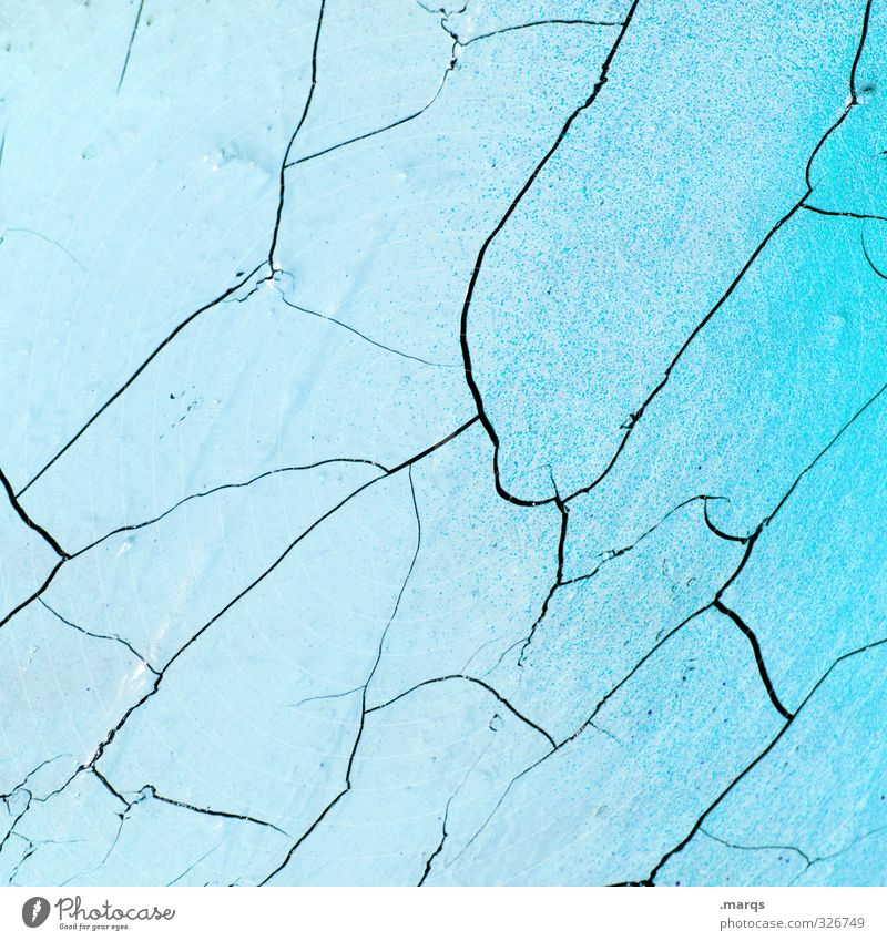 Blue Old Wall (building) Dye Wall (barrier) Bright Background picture Design Concrete Broken Simple Transience Decline Crack & Rip & Tear Light blue Color gradient