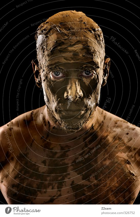 Petrified Masculine Young man Youth (Young adults) 18 - 30 years Adults Earth Sand Threat Dirty Dark Sharp-edged Creepy Hideous Strong Brown Power