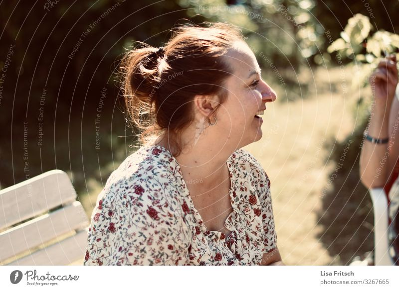 LAUGH - SUMMER - WOMAN Feasts & Celebrations Woman Adults 1 Human being 30 - 45 years Summer Beautiful weather Garden Brunette Braids Relaxation To enjoy