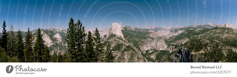 Half Dome panoramic view from Glacier Point Hiking Climbing Mountaineering Nature Landscape Earth Sky Summer Tree Bushes Park Forest Virgin forest Rock Peak