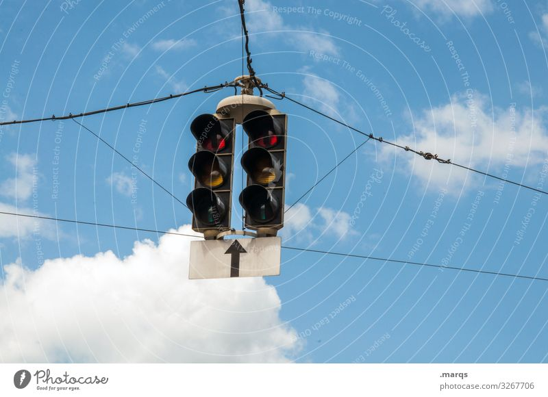 Traffic lights Sky Clouds Transport Road sign Arrow Hang Mobility Target Colour photo Exterior shot Copy Space left Copy Space right Copy Space bottom