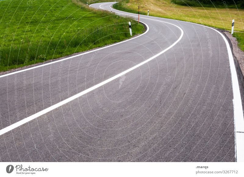 curve Street Country road Curve Meadow overland trip Curved Summer Beautiful weather Traffic infrastructure travel Mobility Perspective