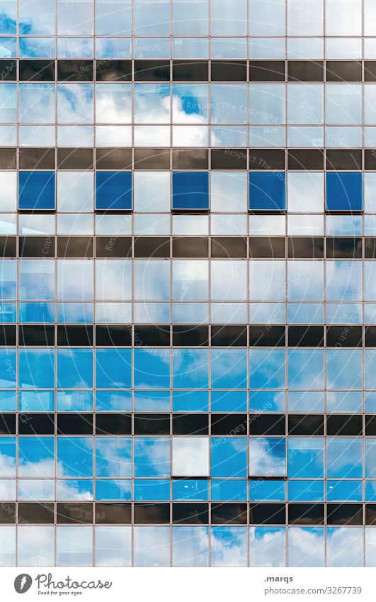 Reflective glass facade Reflection Structures and shapes Pattern Modern Glass Glas facade Window Clouds Sky Bright Blue White Grid Arrangement