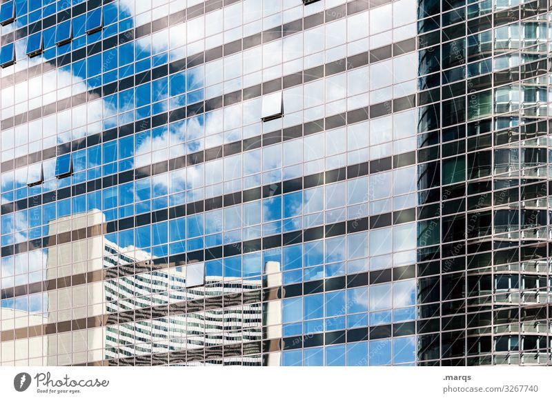 Reflecting facade Glas facade Window Sky Clouds Beautiful weather Reflection Building Manmade structures Architecture Town High-rise