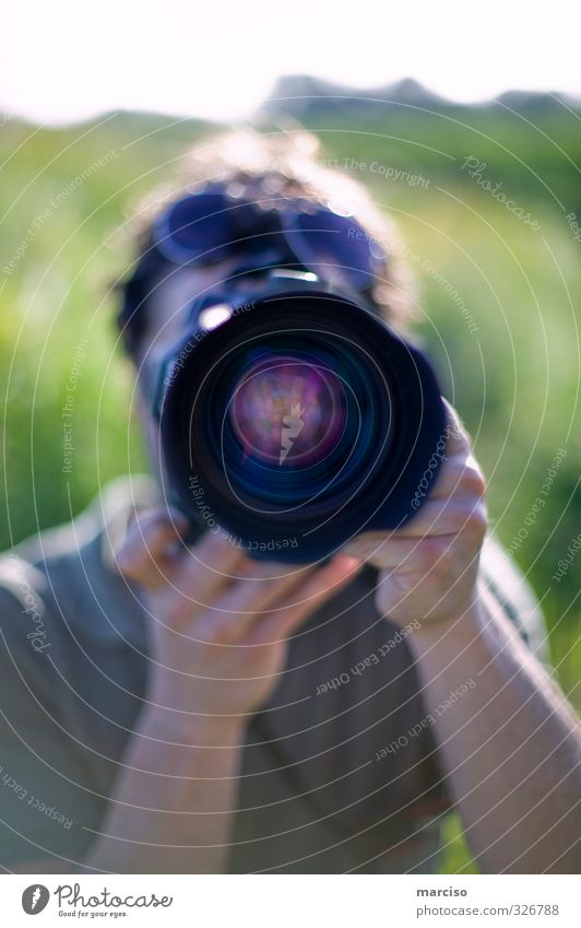 paparazzo Photography Camera Objective Observe Near Creativity Culture Art Perspective Colour photo Exterior shot Day Silhouette Reflection