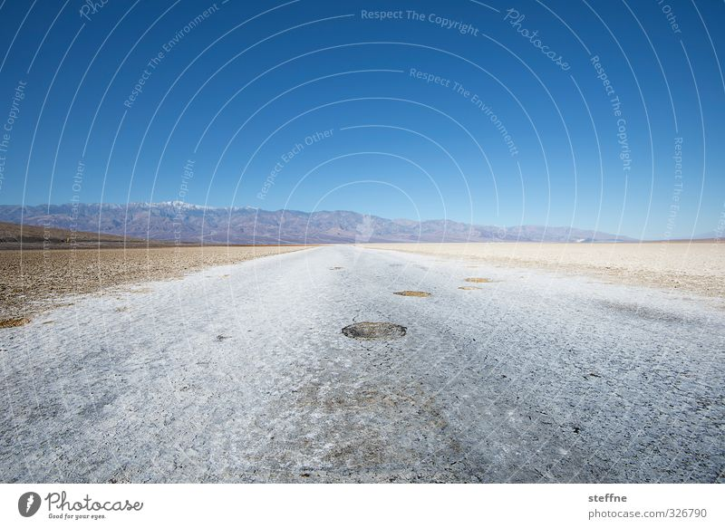 Nature Landscape Mountain Exceptional Climate Beautiful weather USA Cloudless sky Deep Canyon North America Salty Salt flats Death valley Nationalpark Bad Water