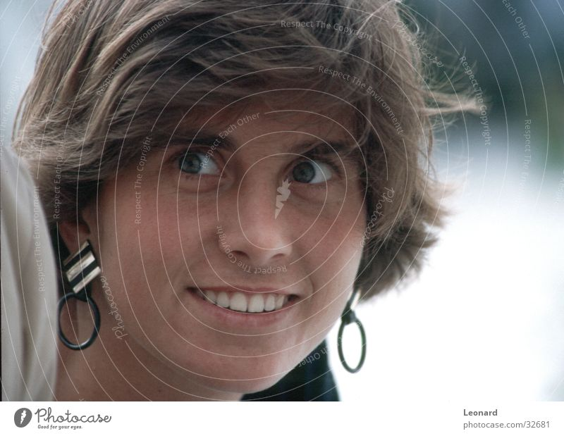 view Woman Human being Laughter Face Earring