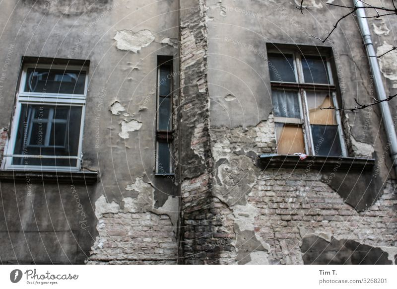 Backyard Berlin Prenzlauer Berg Town Capital city Downtown Old town Deserted House (Residential Structure) Wall (barrier) Wall (building) Facade Window
