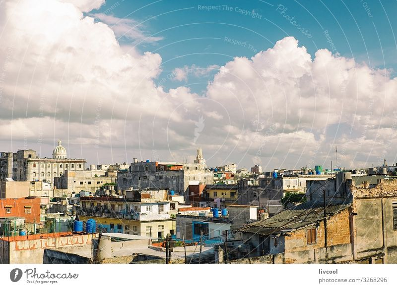View of the rooftops of Havana, Cuba Lifestyle Beautiful Relaxation Sun House (Residential Structure) Landscape Sky Clouds Small Town Skyline Building