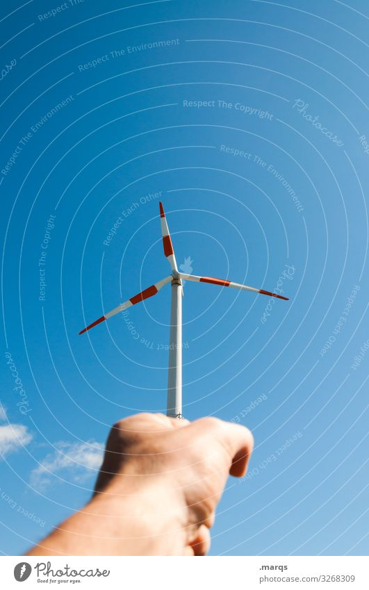 wind power Energy industry Hand Cloudless sky Beautiful weather Wind energy plant Pinwheel To hold on Exceptional Sustainability Advice Climate