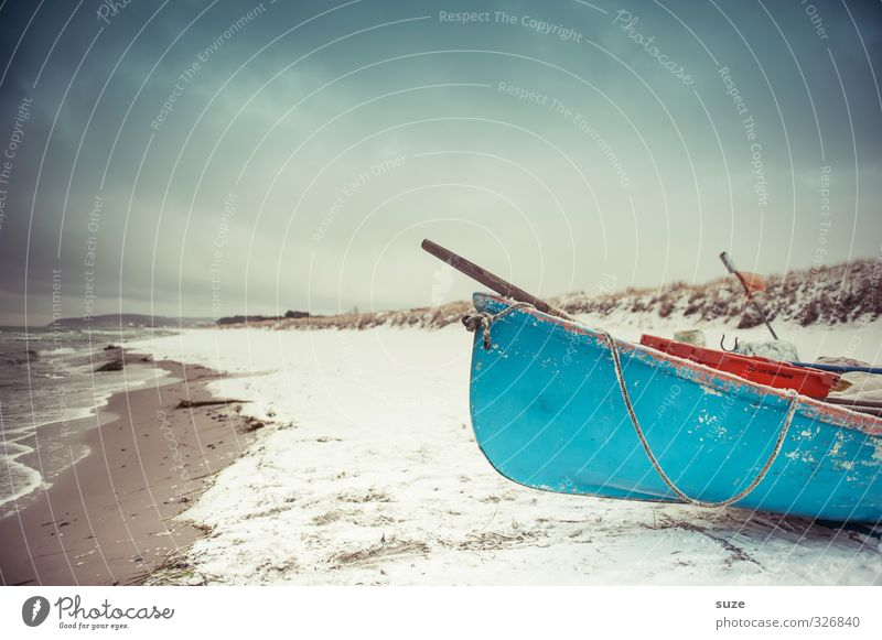 Silent Flood Calm Beach Ocean Island Winter Snow Environment Nature Landscape Elements Sky Horizon Waves Coast Baltic Sea Fishing boat Rowboat Watercraft Lie