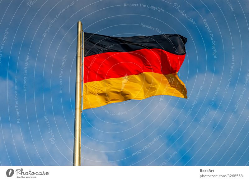 Germany flag black red gold blowing on the flagpole Freedom Culture Sky Wind Flag Blue Yellow Red Black Colour Politics and state Attachment country Blow Banner