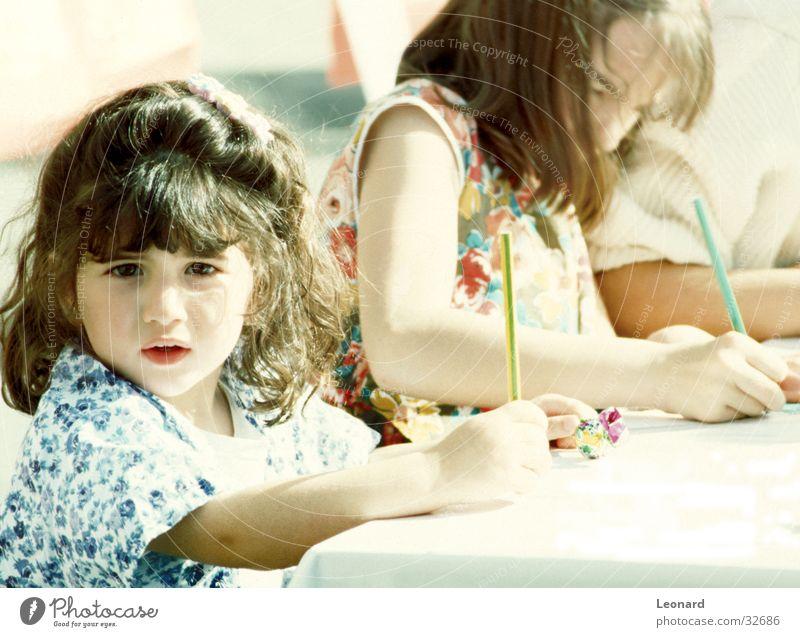 Child Girl School Art Table Acrobat Artist Pencil
