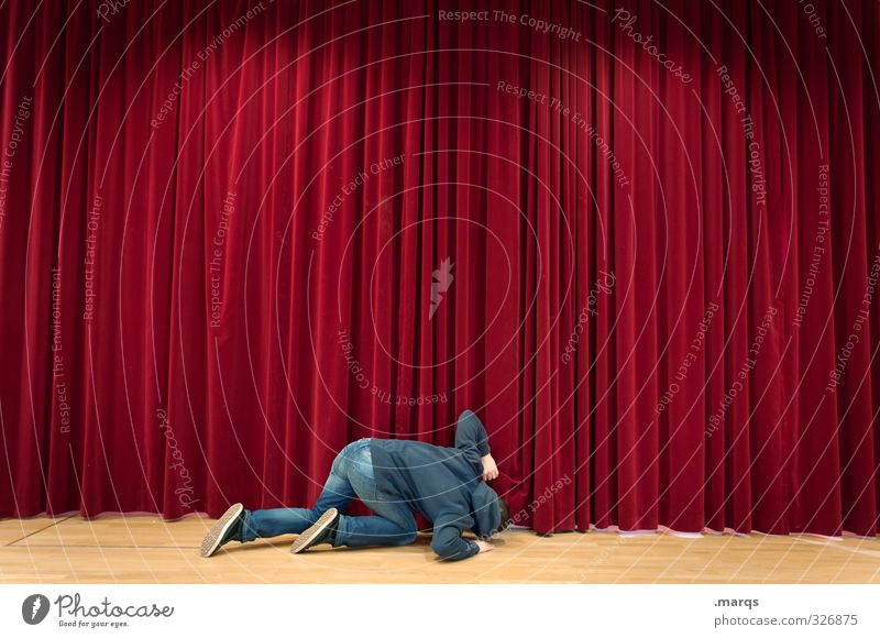 inquisitiveness Entertainment Event Music Human being Masculine Stage Culture Cinema Drape Kneel Looking Red Anticipation Curiosity Interest Beginning Future