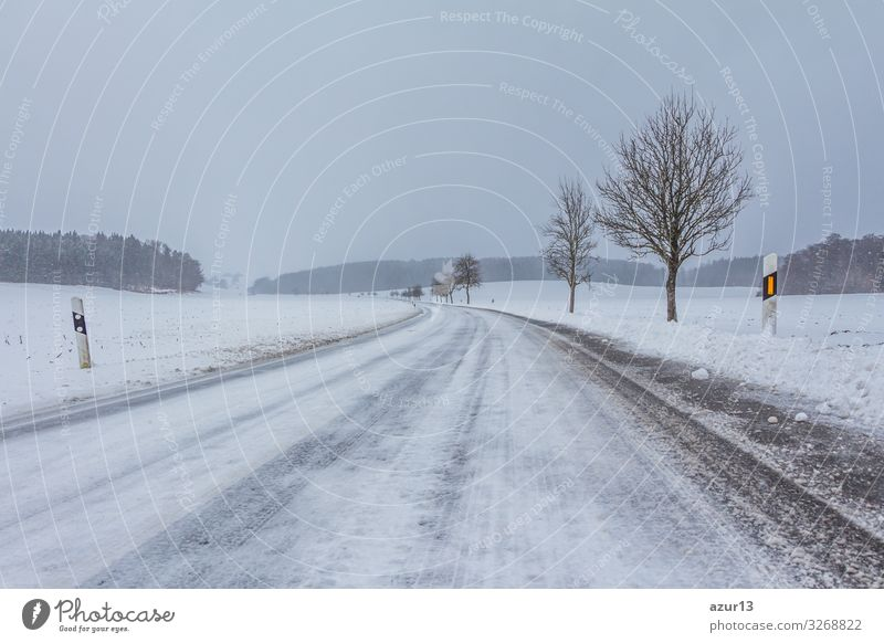Empty smooth frozen winter road with ice snow after storm Vacation & Travel Winter Snow Winter vacation Environment Nature Landscape Climate Climate change